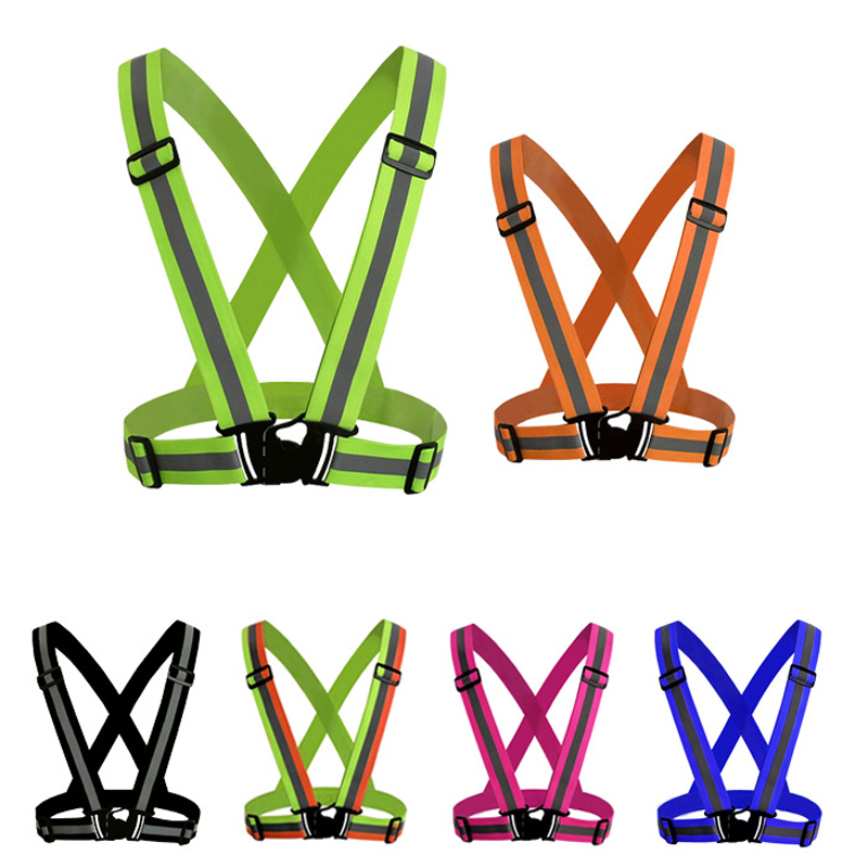 Reflective Vest High Visibility Unisex Outdoor Running Cycling Safety Vest Adjustable Elastic Strap Fluorescence Work Wholesale 1