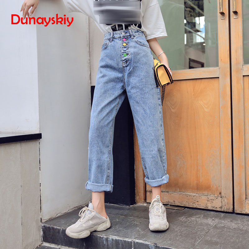 Shredded Hole Jeans Female Ankle Length Buttons High Waist Loose Harem Pants Jeans Women Casual Denim Trousers 2020 New S-2XL