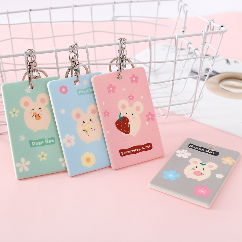 Cartoon Cute Women Credit ID Card Holder Wallet Pouch Keychain Keyring Protective Bank Students Bus Cards Cover Badge Case