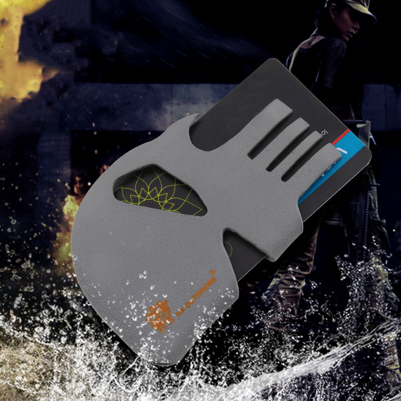 2020 New Skull Design Walle ID Credit Card Money Clip High Quality Safety Outdoor Survial Kit EDC Tool For Women Men