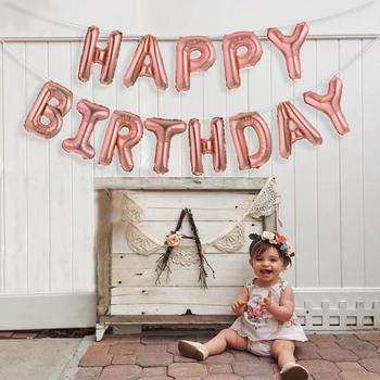 13 sztuk kartka urodzinowa balony 16 cal balony foliowe dekoracje na imprezę urodzinową różowe złoto srebro czarny Globos akcesoria do upominków tanie i dobre opinie Partigos List Folia aluminiowa Birthday party Rocznica Dzień dziecka Ballon 1966