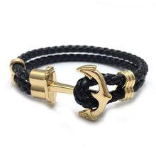 Männer Anker Armband aus Nylon in Navy Blau und Anker aus Messing