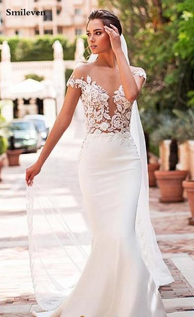 Smileven Mermaid Wedding Dress 2020 Satin Cap Sleeve Vestido De Noiva Lace Bohemian Bride Dresses With Romantic Buttons 2