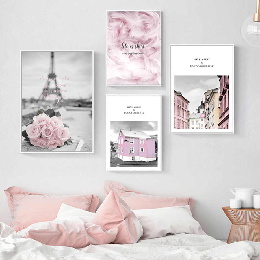 Pink Flower Posters Paris Tower Picture Nordic Canvas Painting for Living Room Girls Bedroom Wall Art Prints Fashion Home Decor