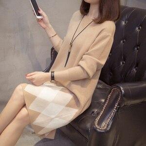 Image 5 - Plus rozmiar Colorblock dzianinowa sukienka 2019 jesienne zimowe ubrania koreański elegancki luźny z długim rękawem duże rozmiary damskie sukienki swetrowe