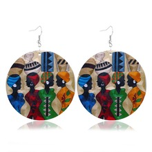 Creative Single Side Painting Earring Bohemian Vintage Wood Drop Silver Hook Jewelry For Women Punk Party Gift
