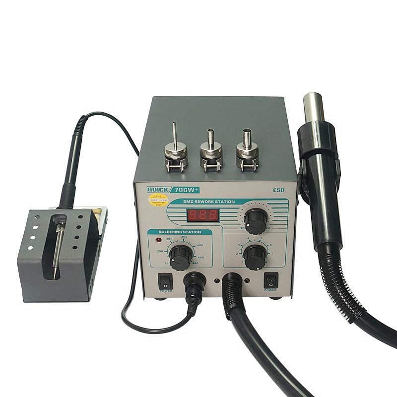 Free Gun 706W Anti Air Rework 3  Lead With  BGA Hot Iron  QUICK Nozzles Soldering Digital Static Station Temperature Display Smd