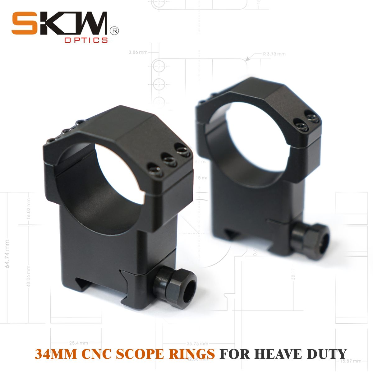 SKWGEAR Tactical 34mm scope rings RifleScope Mount Fit Picatinny Mil CNC riflescope ring image