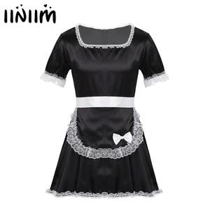 iiniim Sexy Sissy Maid Fantasia Uniforms Men Maids Servers Cosplay Dress with Apron Hot Party Dress Gay Sexy Lingerie Nightwear(China)