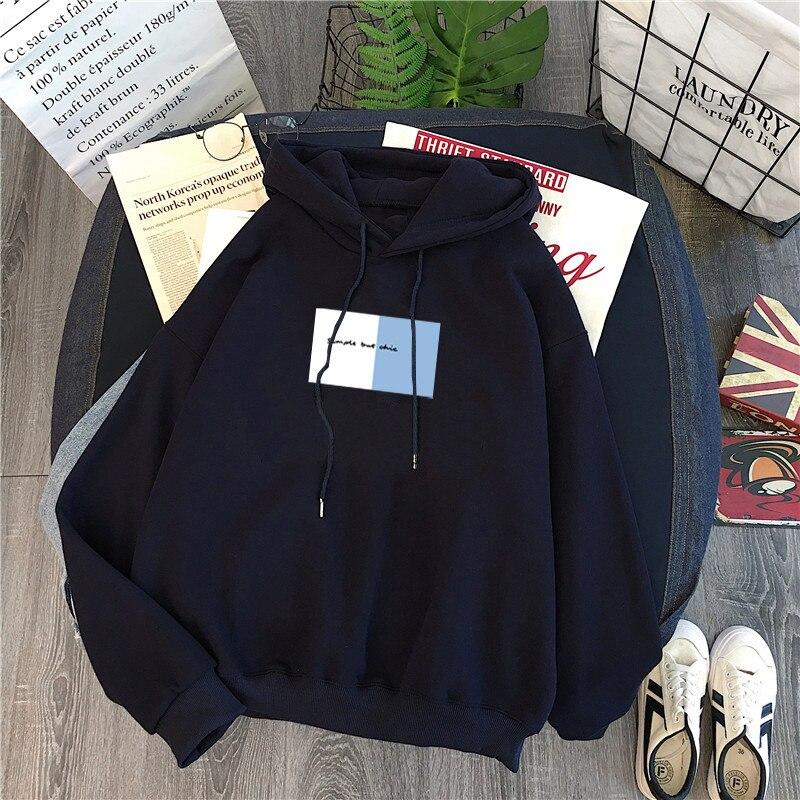 hoodie Winter Women Hoody Sweatshirt Print Letters Harajuku Fleece Lady Pullover Casual Concise Loose Long Sleeves Tops Female