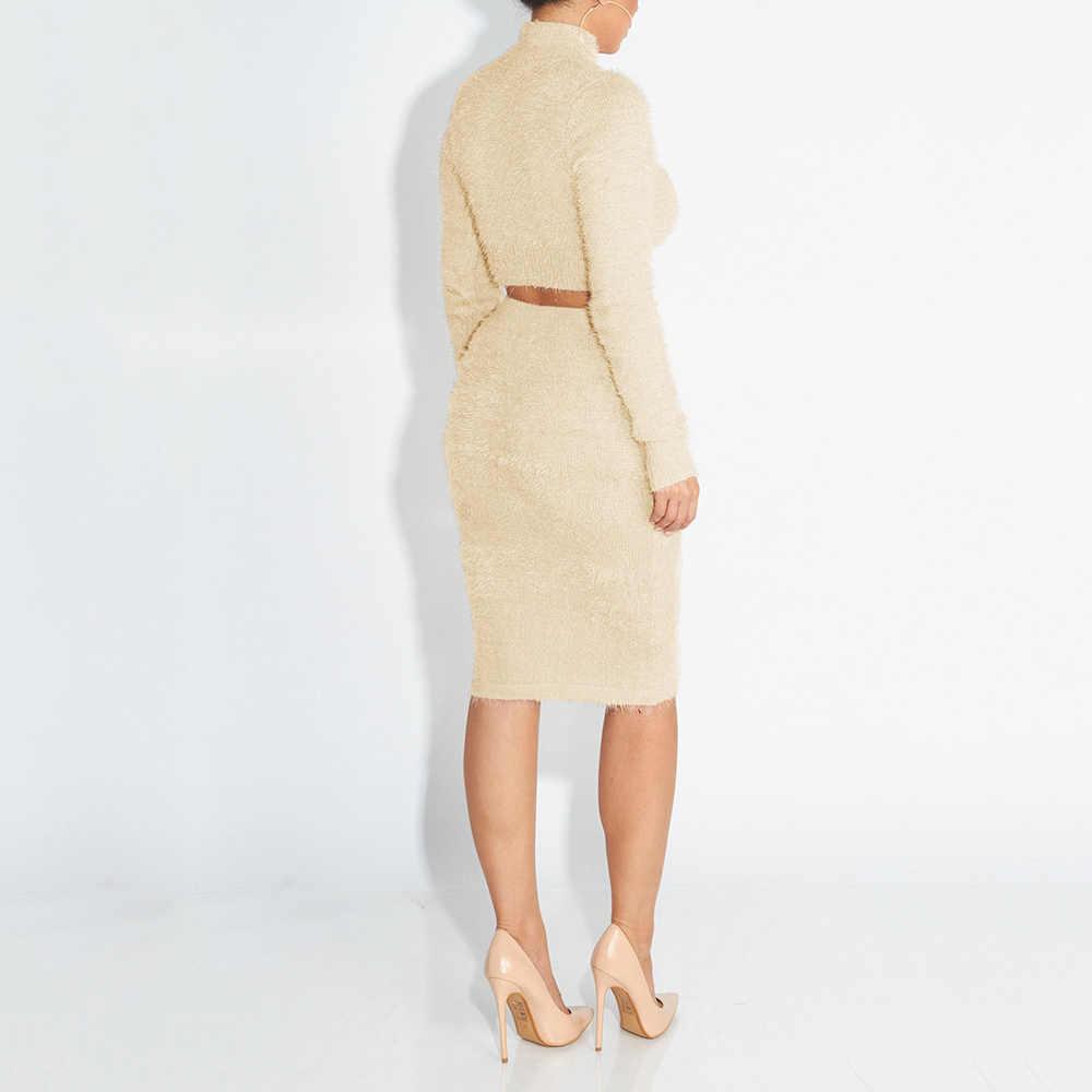 女性のファッションソリッド色のセーターのスーツセット 2 個女性ニット長袖高襟プルオーバー + ボディコンペンシルスカート 2019 新