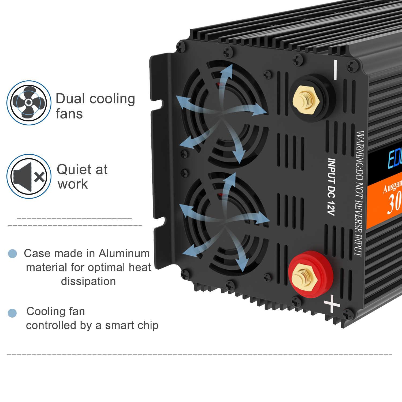 EDECOA 3000w 6000w przetwornica napięcia DC 12V do AC 220v 230V zmodyfikowany falownik sinusoidalny z 5V 2.1A USB pilot LCD