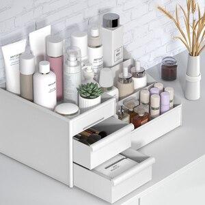 Image 2 - メイクアップオーガナイザー化粧品大容量化粧品収納ボックスオーガナイザーデスクトップジュエリー化粧引き出しコンテナ