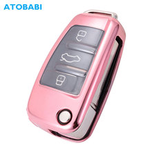 ATOBABI TPU Car Key Cover For Audi A1 A3 A6 Q2 Q3 Q7 TT TTS R8 S3 S6 RS3 Folding Remote Fob Case Keychain Protector Pink Bag