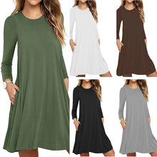 Long Sleeve Dress 2019 Autumn And Winter New Womens Solid Color Long-sleeved Pocket Vestidos Mujer Midi