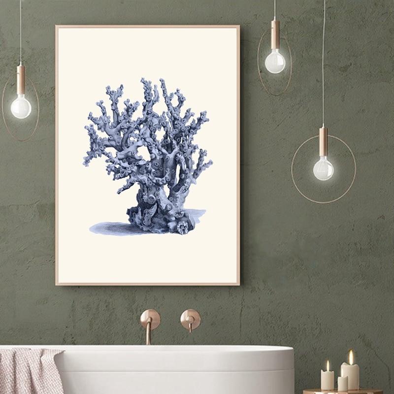 Navy blue Cora Canvas Art Paicture Bathroom Decor
