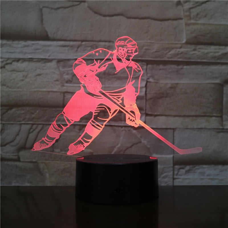 เด็ก LED Night Light ICE Hockey Player Action FIGURE Nightlight ตกแต่งโคมไฟห้องนอนห้องนอนเด็กตาราง 3D โคมไฟกลางคืนเด็ก