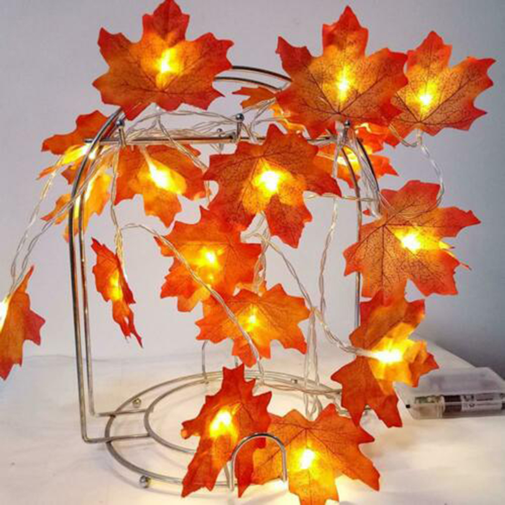 Fairy LED Maple Leaves String Battery/USB Powered Fall Autumn Plants Garland Fence Party Stair Railing Decoration 1.5M/3M/6M