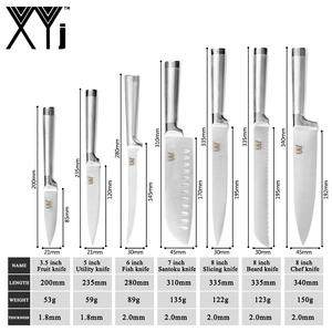 Image 2 - مجموعة سكاكين XYj للمطبخ من 8 قطع من الفولاذ المقاوم للصدأ بطول 8 بوصات سكاكين Boning Santoku أدوات طهي على الطريقة اليابانية للسوشي والأسماك