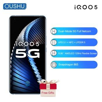 Перейти на Алиэкспресс и купить Оригинальный Новый 5G IQOO 5 Snapdragon865 4500mAh 55W Celular 12G 128G 50MP Тройная камера RearCamera 120Hz Частота обновления экрана NFC телефон