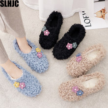 SLHJC Autumn Winter Shoes Warm Curly Fur Flat Heel Round Toe Loafers Women Anti Skid Sweet Flowers Decoration Flats(China)