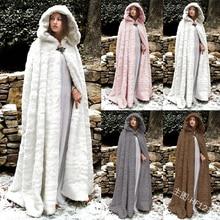 Abrigo largo con capucha celta de piel de imitación de invierno Vintage Medieval para mujeres cálido vikingo blanco de nieve Maxi vestido de novia capas de boda