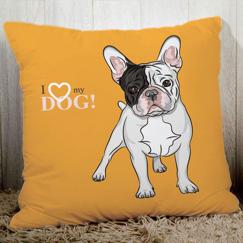 Lovely dogs home decorative pillow 45x45cm quality polyester peach fiber bedding pillowcase cute french bulldog pugs