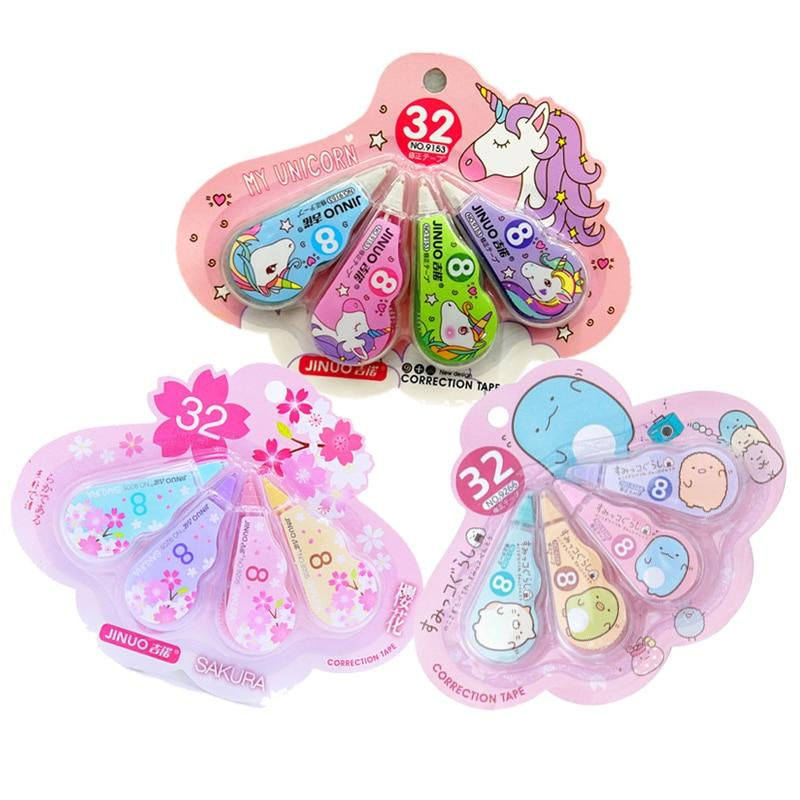 4 Pcs/Set Cute Sumikko Cherry Unicorn Correction Tape 3m Kawaii Corrector Tool For Kids Gifts School Stationery Supplies