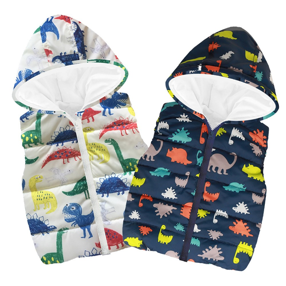 Toddler Kids Baby Grils Boys Sleeveless Cartoon Dinosaur Hooded Made Of High Quality Materials Warm Coat Tops
