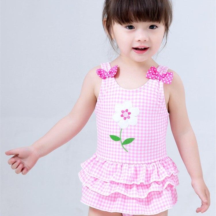 2019 Hot Selling KID'S Swimwear Big Boy Infants GIRL'S Pink Plaid Skirt-Sweet One-piece Swimwear