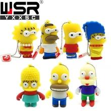 Cute cartoon Simpson usb2.0 pen drive 32gb real capacity 128gb usb flash drive  64gb waterproof memory stick 16gb 8gb high speed