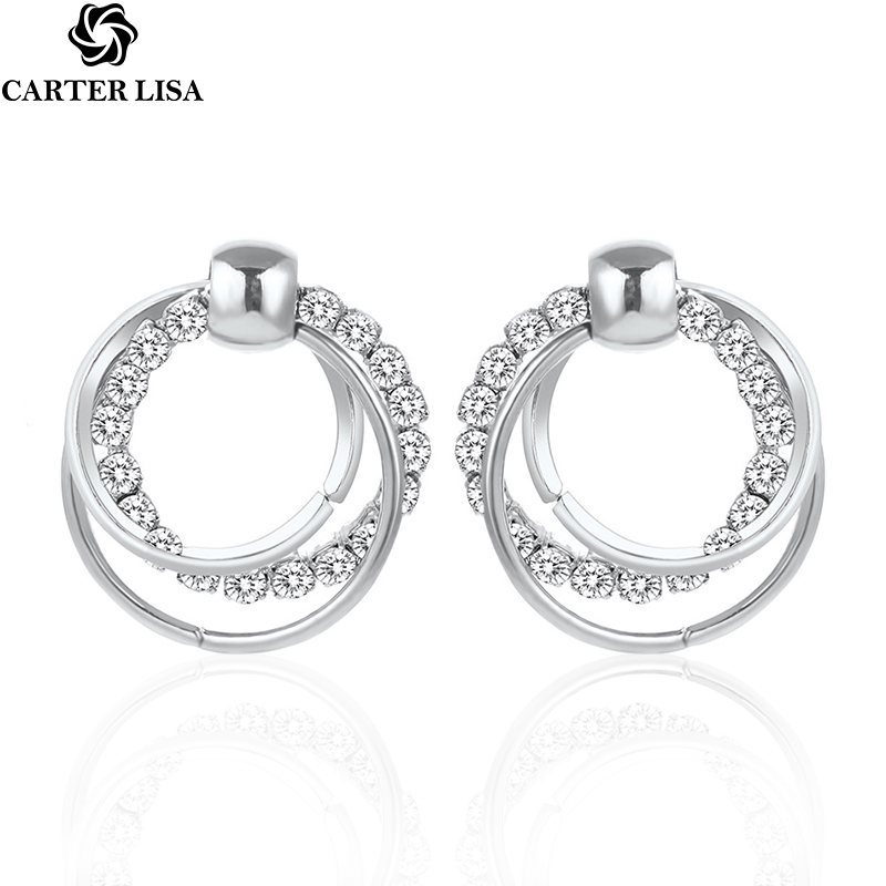 CARTER LISA New Fashion Exquisite Triple Circle Round Rhinestone Stud Earrings Silver Color Earrings For Women/Girls Jewelry