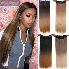 Омбре 5 клипсов длинные прямые клипсы для наращивания волос