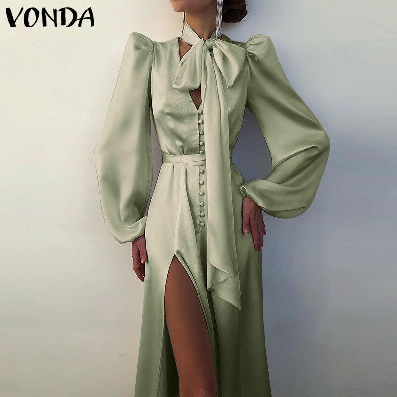 Summer Dress Women Casual Solid High Waist Long Sleeve Midi Shirt Dresses VONDA 2021 Sexy V Neck Long Sleeve Bohemian Vestidos