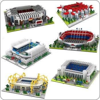 Antiguo campo de fútbol Nou Bernabeu San Sir Stadium Real Madrid Barcelona Club DIY diamante edificio bloques pequeños juguete sin caja