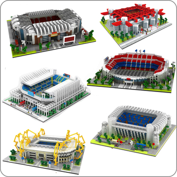Football Old Trafford Camp Nou Bernabeu San Sir Stadium Real Madrid Barcelona Club DIY Diamond Building Small Blocks Toy no Box