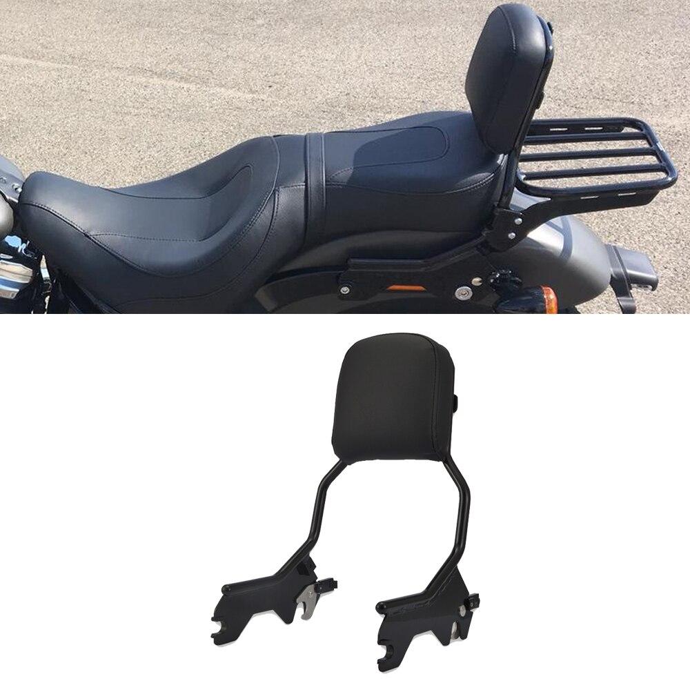 Wsen Black Detachable Standard Height Passenger Backrest Sissy Bar With Pad For 2018-UP Harley Softail FLDE FLHC FLHCS FLSL FXBB