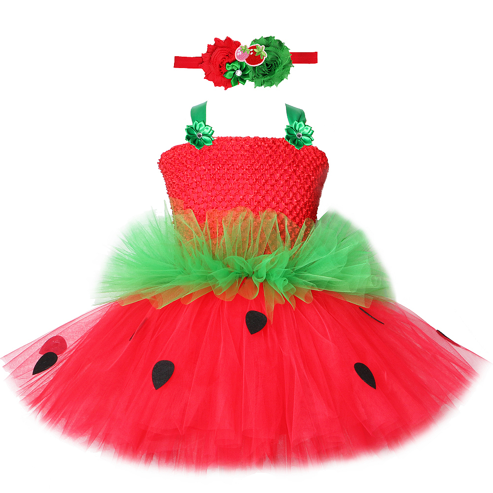 Red Green Strawberry Dresses for Girls Princess Tutu Dress with Flowers Headband Cute Children Kids Costume for Birthday Party