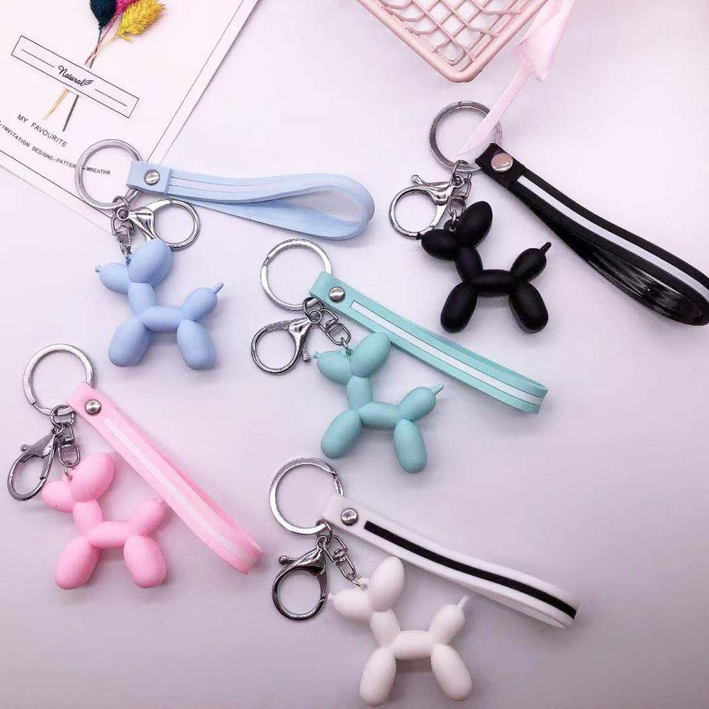 New Fashion Cute Balloon Dog Keychain Key Ring Fashion Cotton Cartoon PU Creative Car Bag Phone Pendant Key Chain Gift