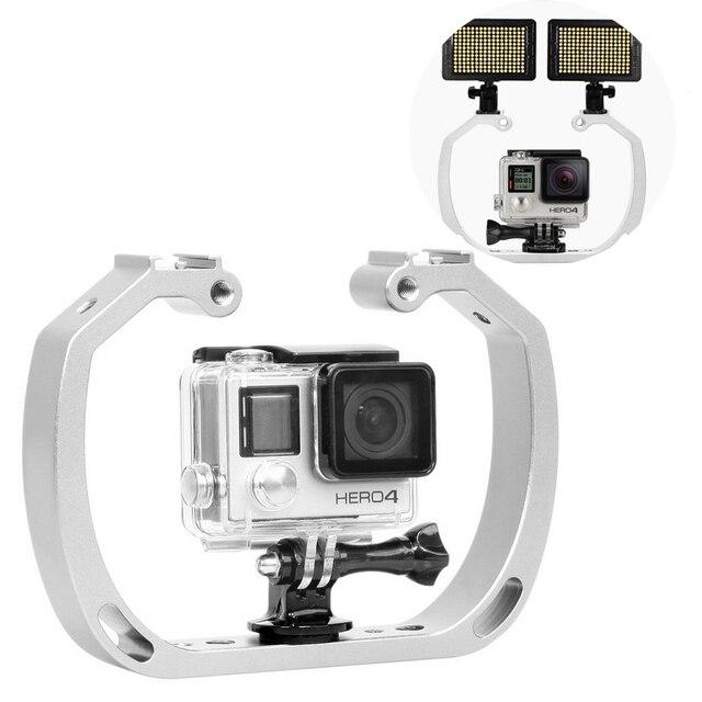 مزدوج الذراع يده دعم استقرار قبضة اليد الغوص تحت الماء معدات التصوير ل GoPro بطل شاومي يي عمل الكاميرا