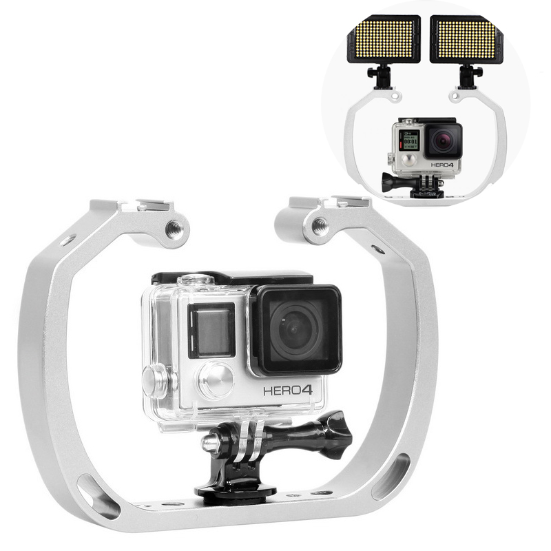 Double-Arm Handheld Support Stabilizer Hand Grip Diving Underwater Photography Equipment For GoPro Hero Xiaomi Yi Action Camera-0