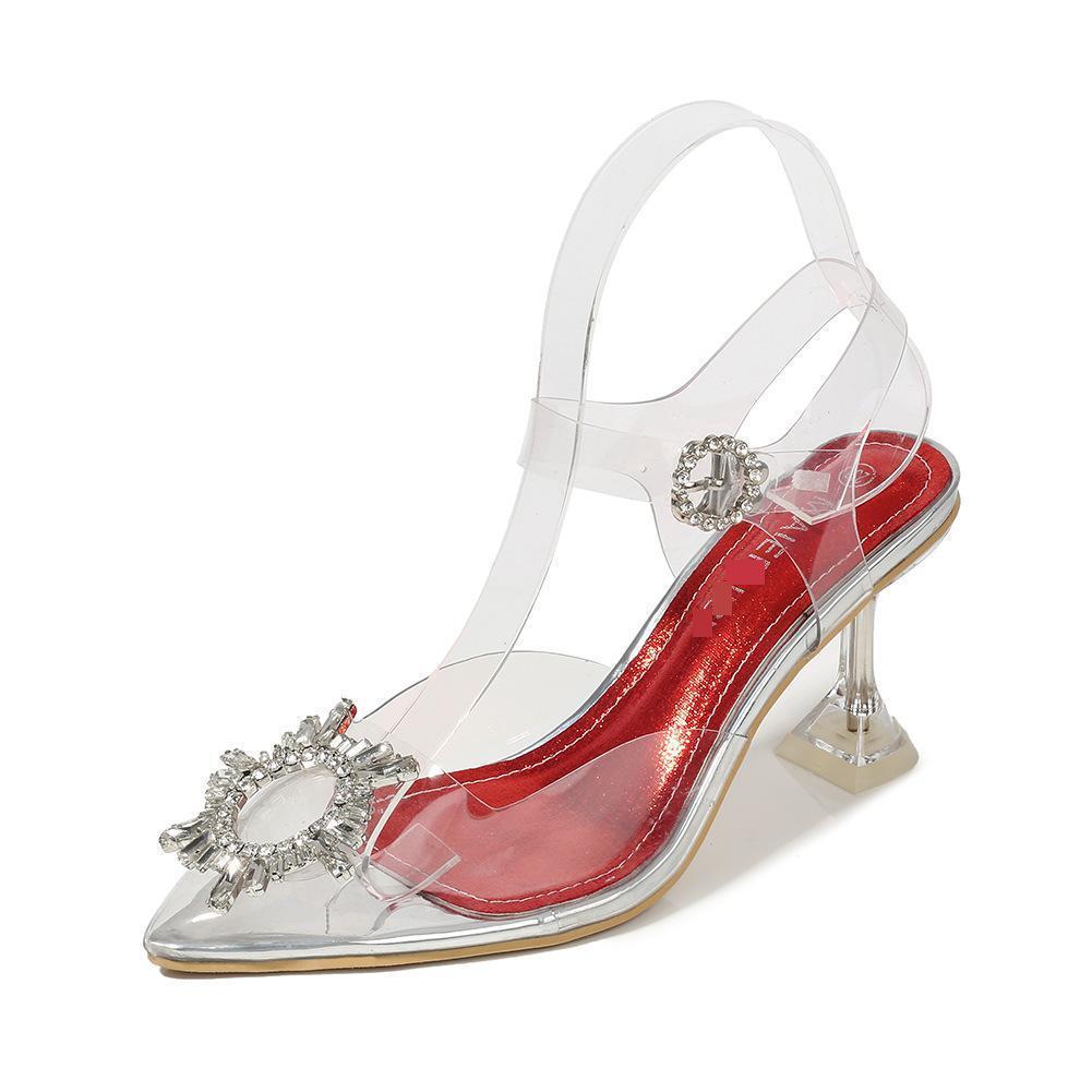 Odinokov Pvc Transparent Crystal Shoes 2019 New Pointed Odd Heel Shoes Stiletto Ladies Sun Decoration Wild Woman Pumps Big Size