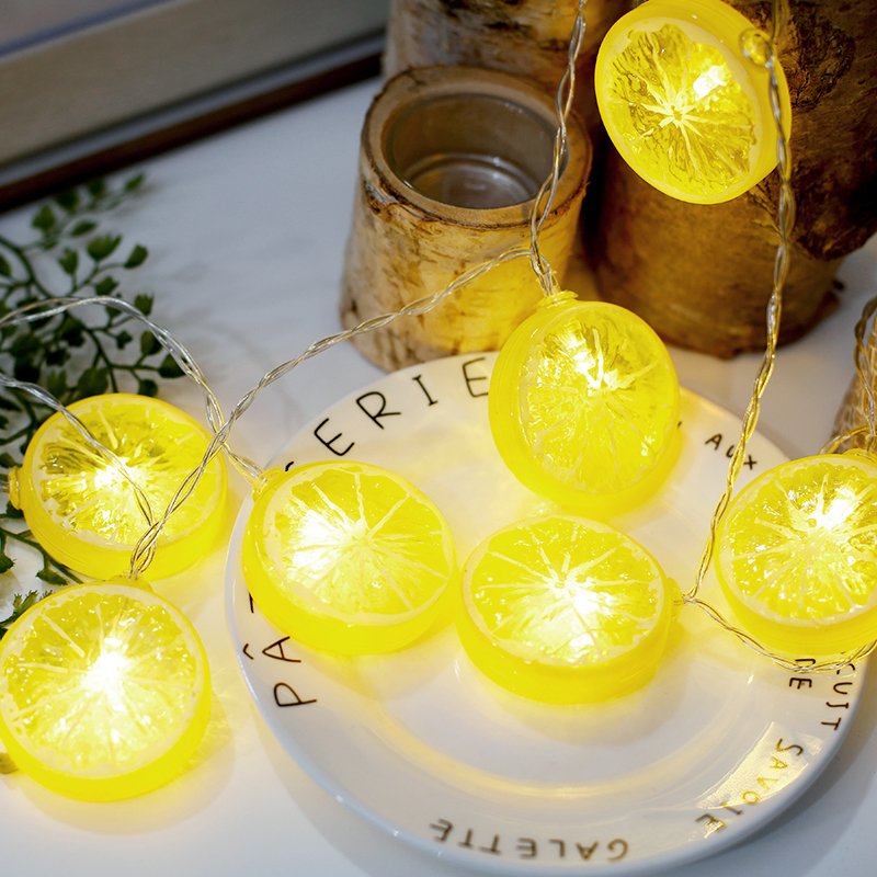 QYJSD 1 5 3 4 5 6m Fruit LED String Lights Battery Plug USB Lemon Cute Garland Party Lamp Christmas Decoration For Home Outdoor in Lighting Strings from Lights Lighting