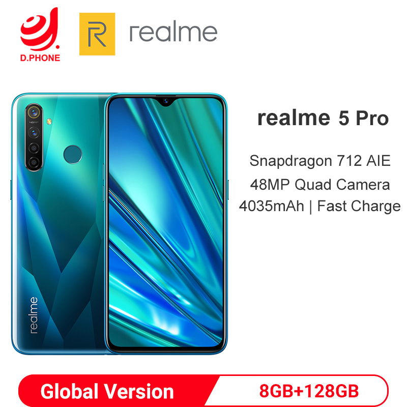 Global Version realme 5 Pro 8GB 128GB Snapdragon 712 Octa Core Smartphone 48MP Quad Camera VOOC 20W Fast Charge Mobile Phone|Cellphones| |  - title=