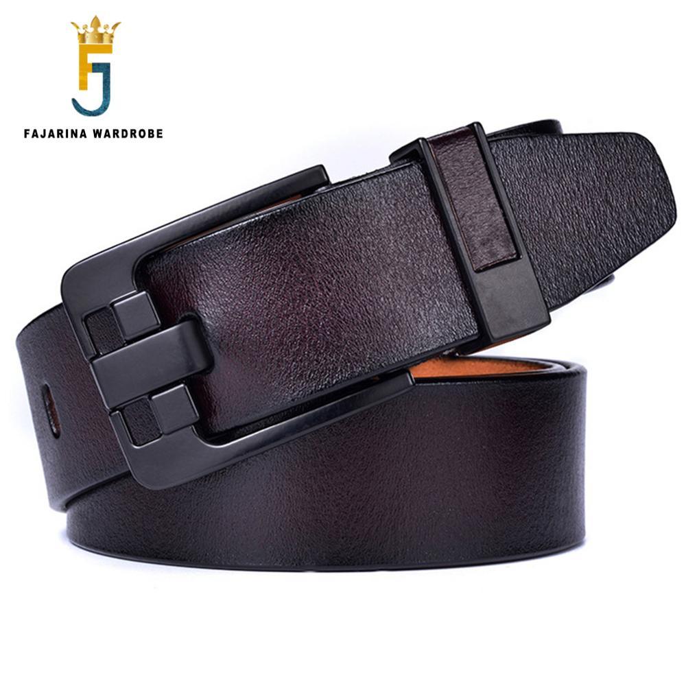 FAJARINA ceinture en cuir véritable de haute qualité noir Design Unique ceintures à boucle ardillon pour hommes Styles Jeans rétro 38mm largeur N17FJ789