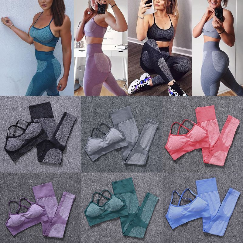 2019 Women Set Seamless Strap Padded Bra + Lady High Waist Gym Fitness Shockproof Push Up Scrunch Butt Leggings Sports Tights