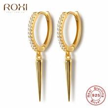 ROXI-Colgante de punta de remache Punk para mujer, pendientes de plata de ley 925 redondos de cartílago, joyería, pendientes geométricos sencillos
