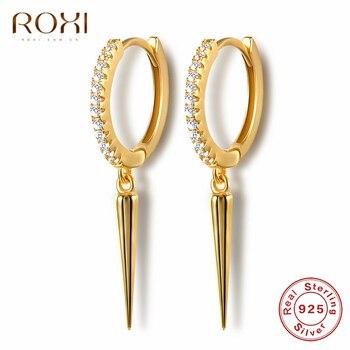 ROXI Punk Rivet Spike Pendant Round Cartilage 925 Sterling Silver Earrings for Women Jewelry Simple Geometric Earrings Brincos pair of graceful faux gem rivet geometric earrings for women