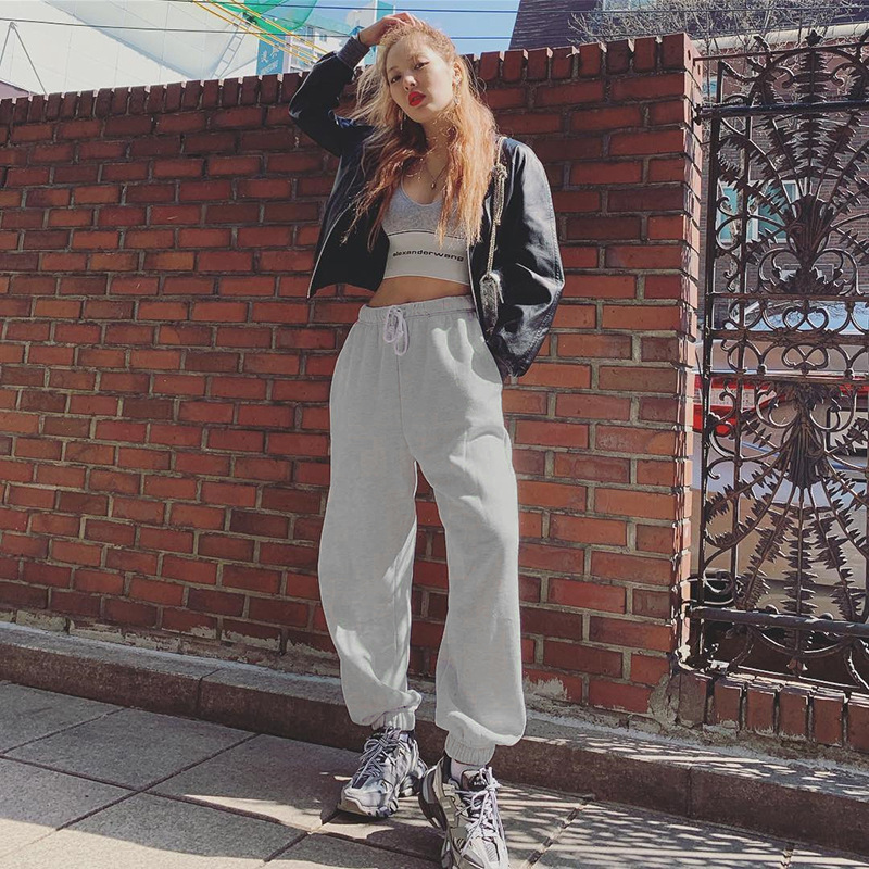Casual Pants Fitness Sportswear Tracksuit Bottoms Loose Sweatpants Trousers Grey Gyms Track Pants  High  Solid  Full Length