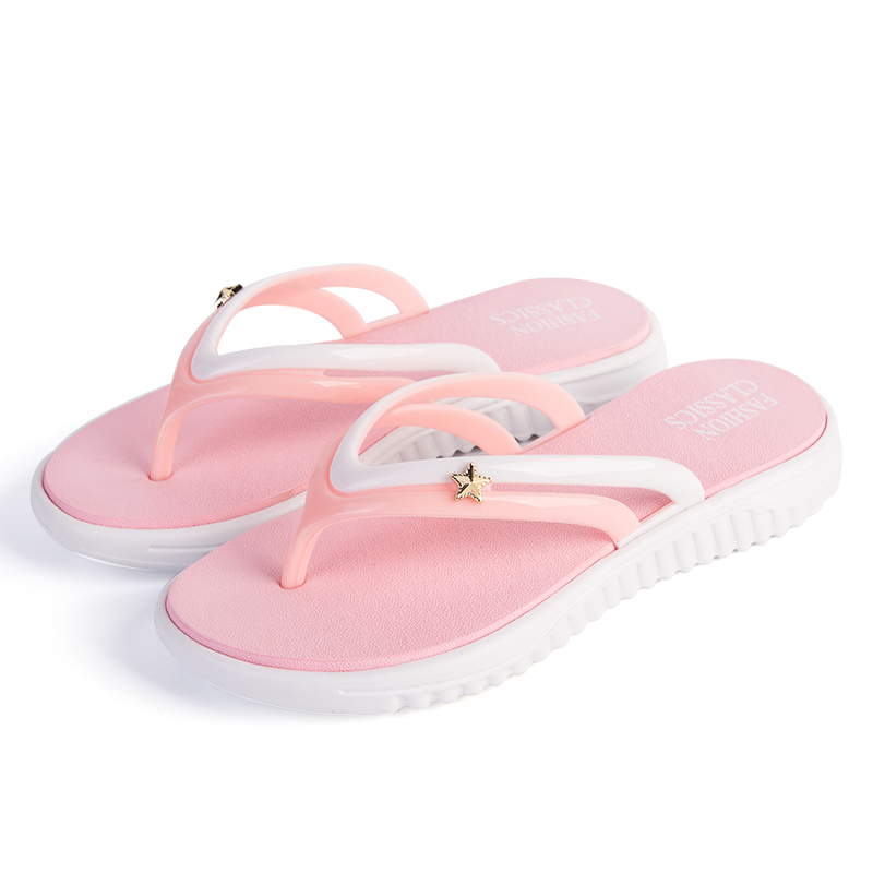 Womens Summer Slip-on Shoes Anti-slip Hard-wearing Fashion Leisure Slippers Beach Swimming Walking Indoor T-tied Flip Flops